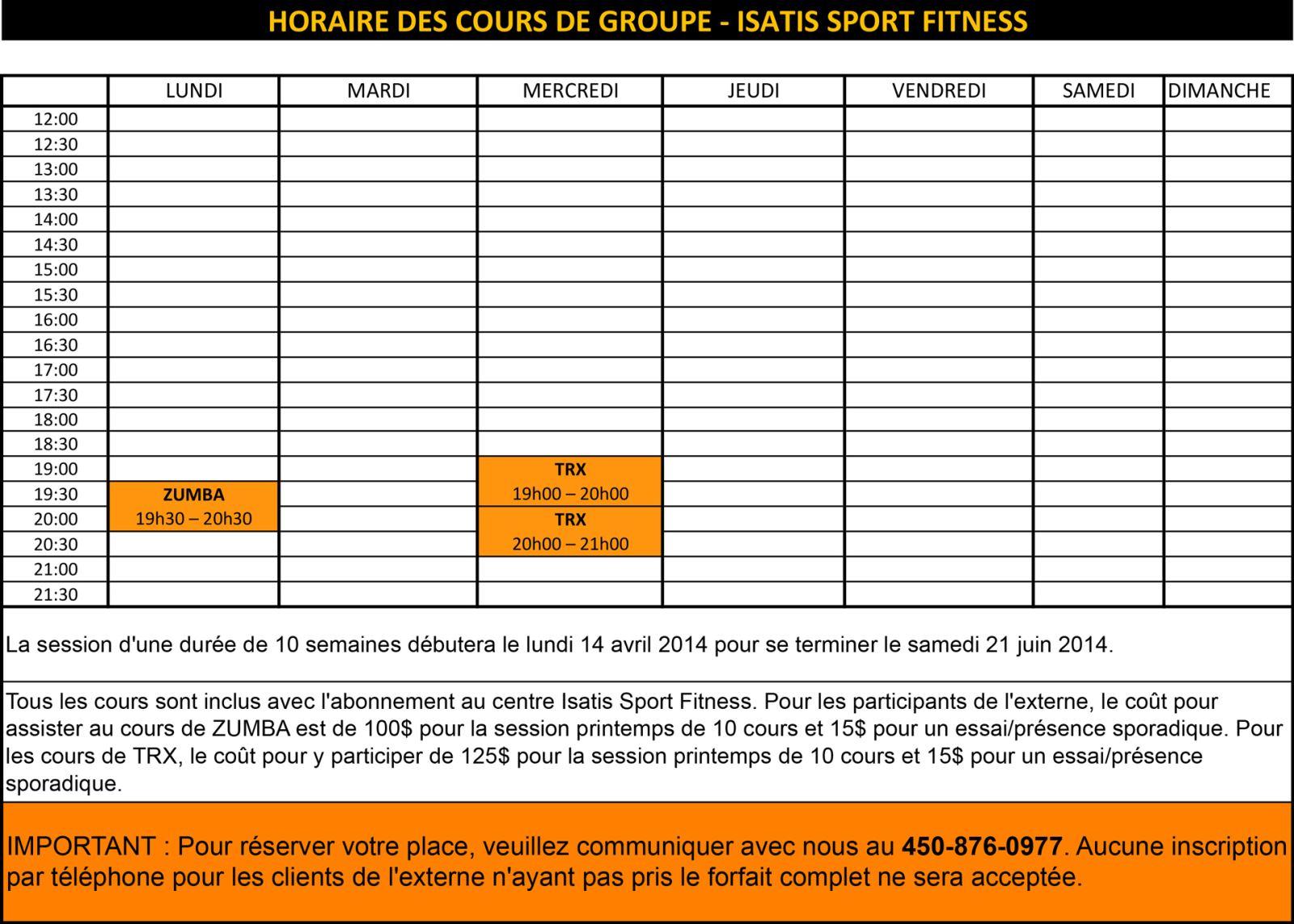 horaire des cours isatis sport fitness printemps 2014 isatis sport fitness. Black Bedroom Furniture Sets. Home Design Ideas